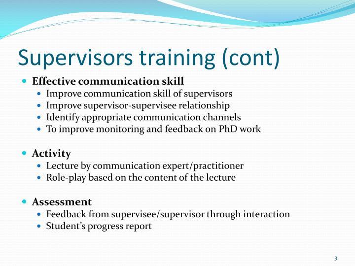 Supervisors training (cont)