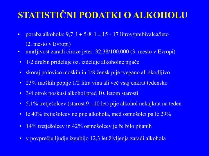 STATISTIČNI PODATKI O ALKOHOLU