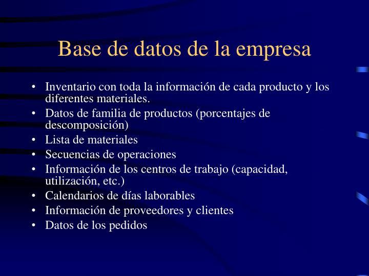 Base de datos de la empresa