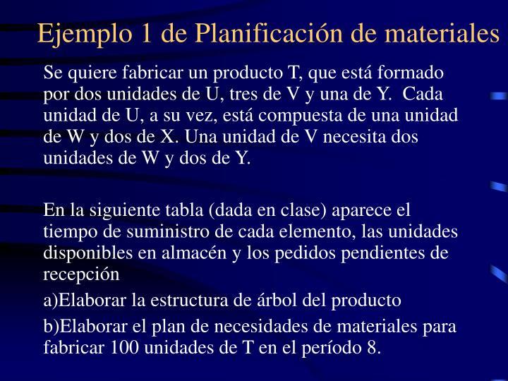 Ejemplo 1 de Planificación de materiales