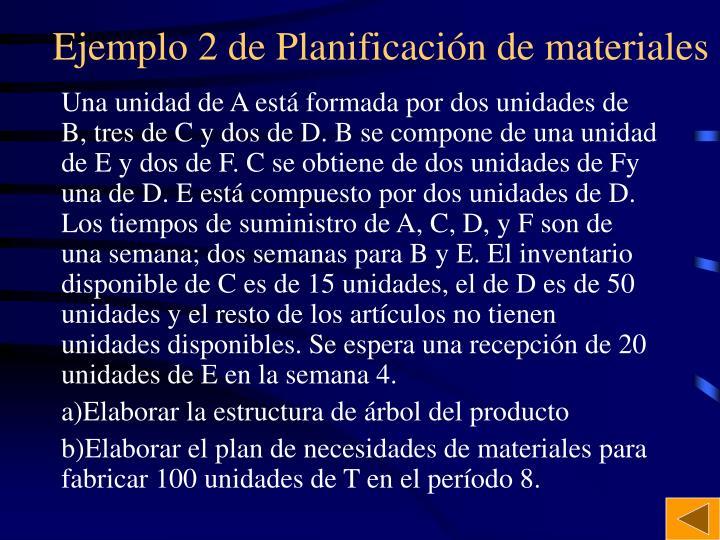 Ejemplo 2 de Planificación de materiales