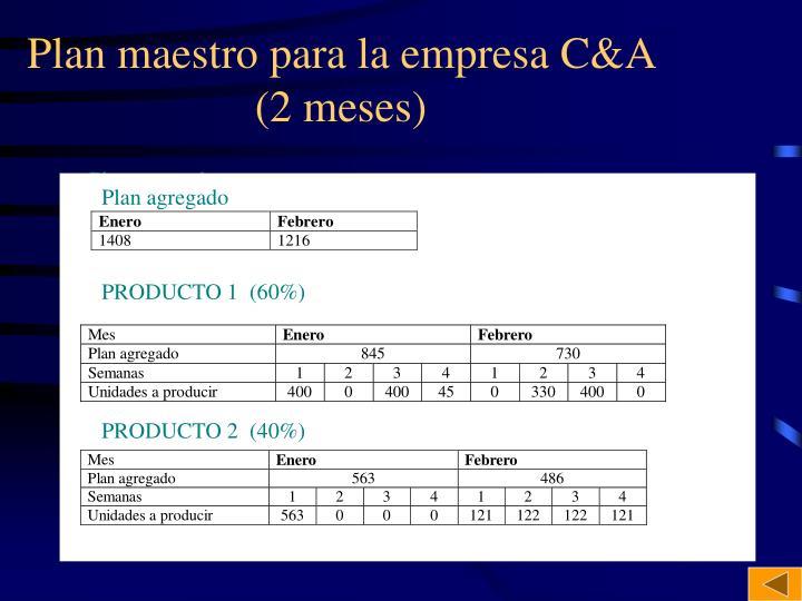 Plan maestro para la empresa C&A  (2 meses)