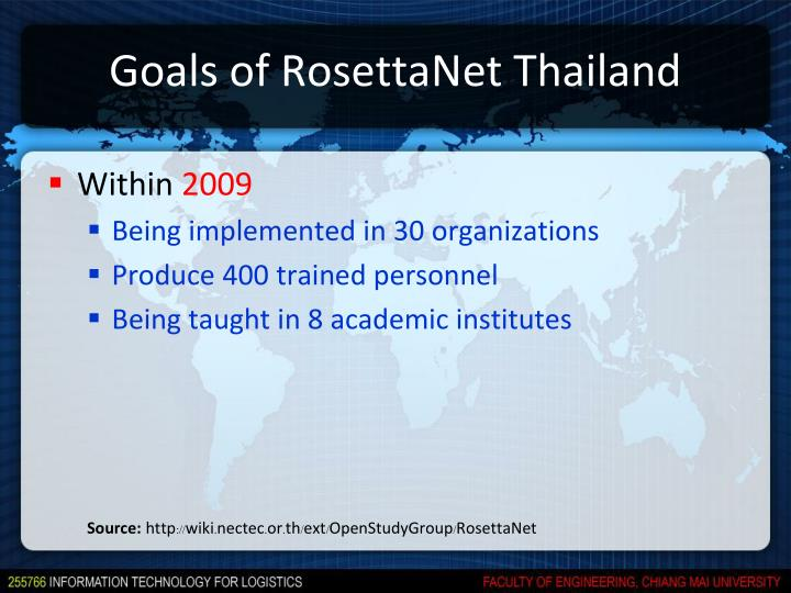 Goals of RosettaNet Thailand