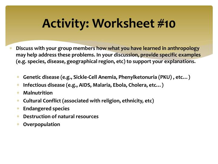Activity: Worksheet #10