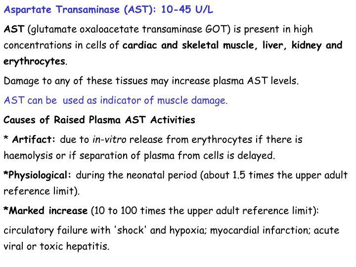 Aspartate Transaminase (AST): 10-45 U/L