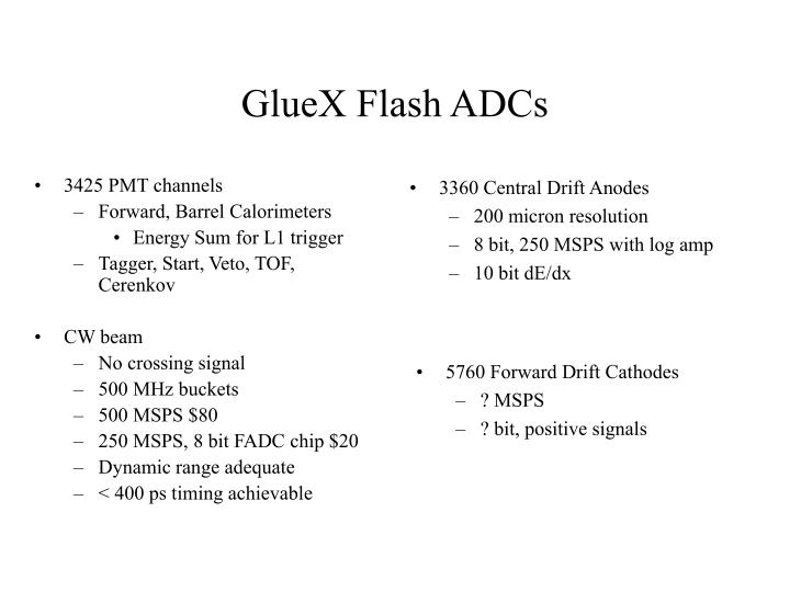 Gluex flash adcs