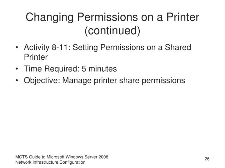 Changing Permissions on a Printer (continued)