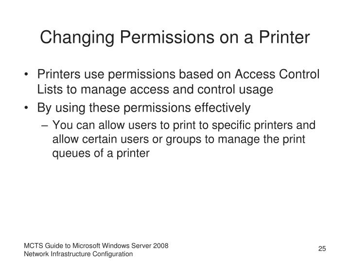 Changing Permissions on a Printer