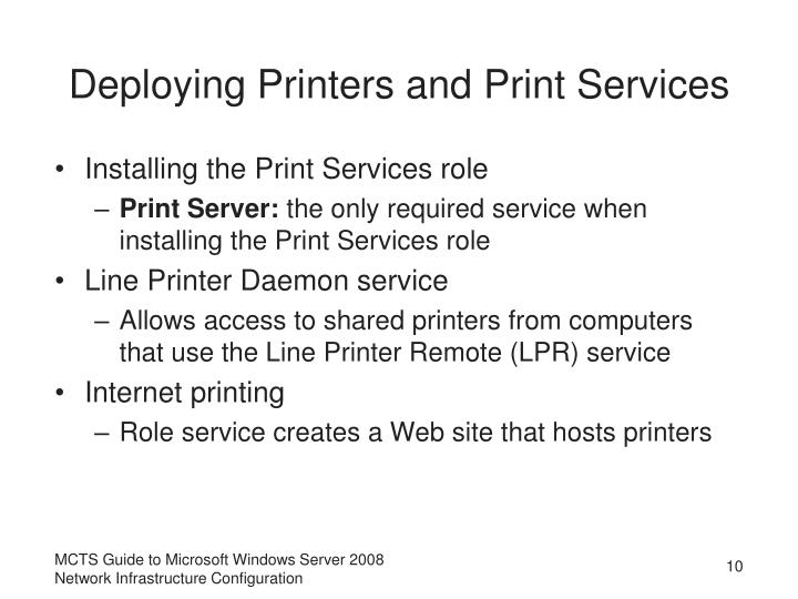 Deploying Printers and Print Services