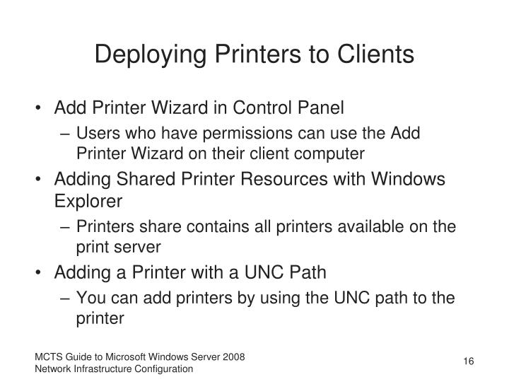 Deploying Printers to Clients