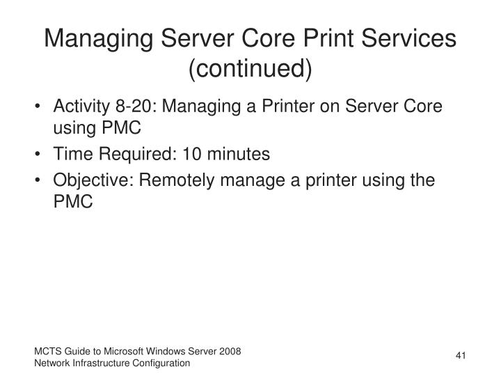 Managing Server Core Print Services (continued)