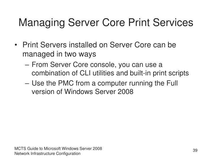 Managing Server Core Print Services