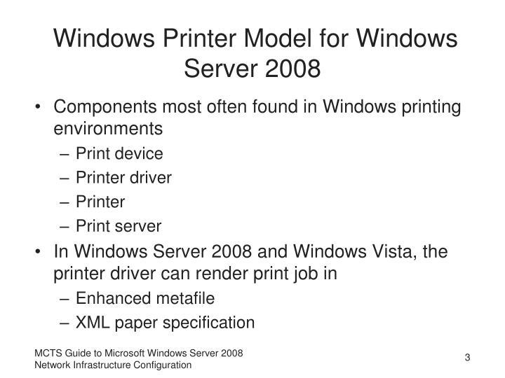 Windows Printer Model for Windows Server 2008