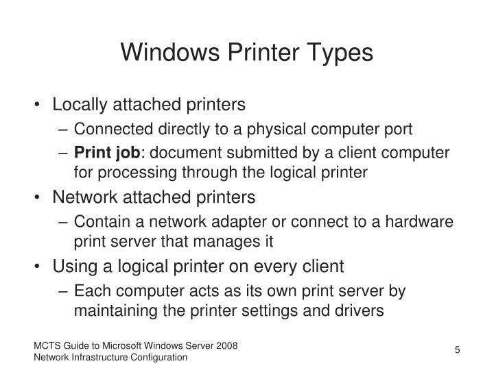 Windows Printer Types