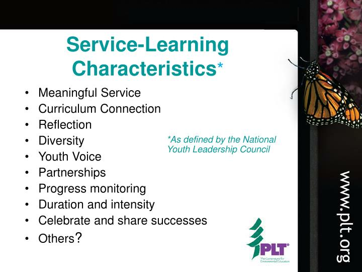 Service-Learning Characteristics