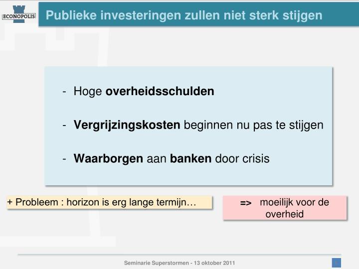 Publieke investeringen zullen niet sterk stijgen