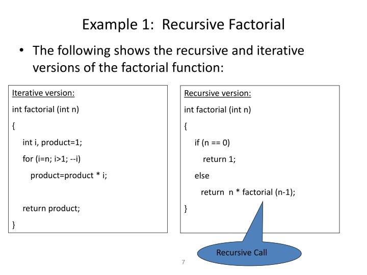 Example 1:  Recursive Factorial