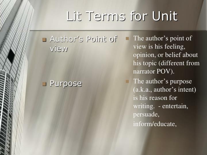 Lit Terms for Unit