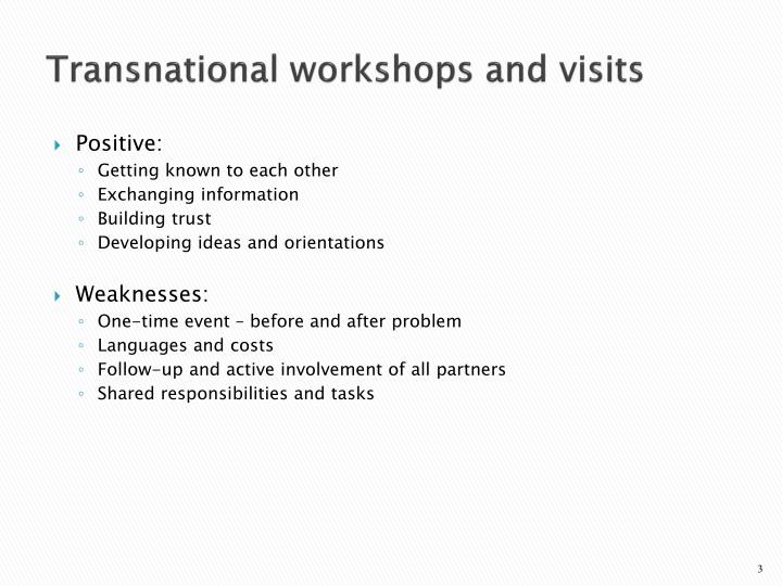Transnational workshops and visits