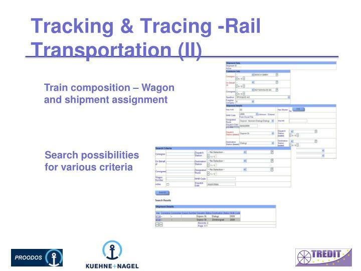 Tracking & Tracing -Rail Transportation (II)