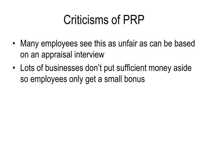 Criticisms of PRP