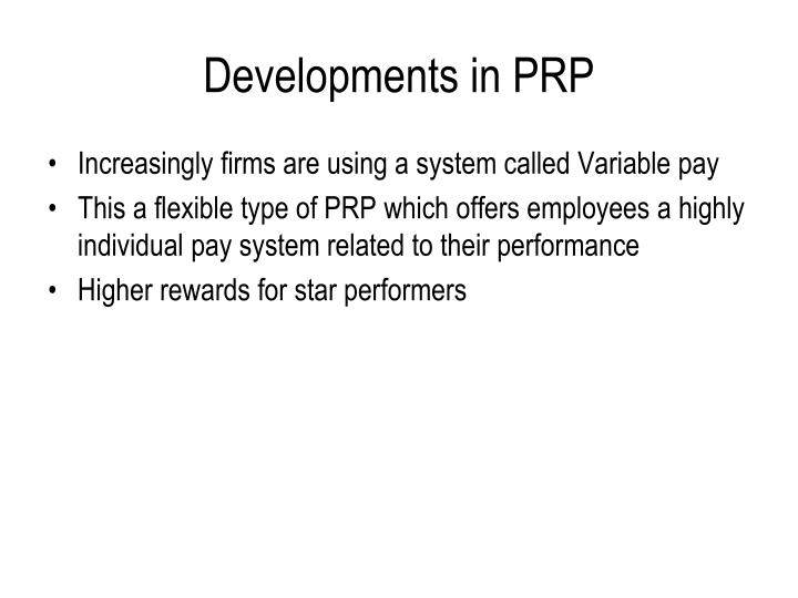 Developments in PRP