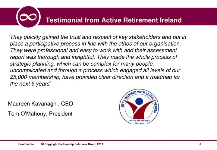 Testimonial from Active Retirement Ireland