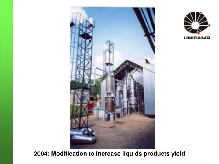 2004: Modification to increase liquids products yield