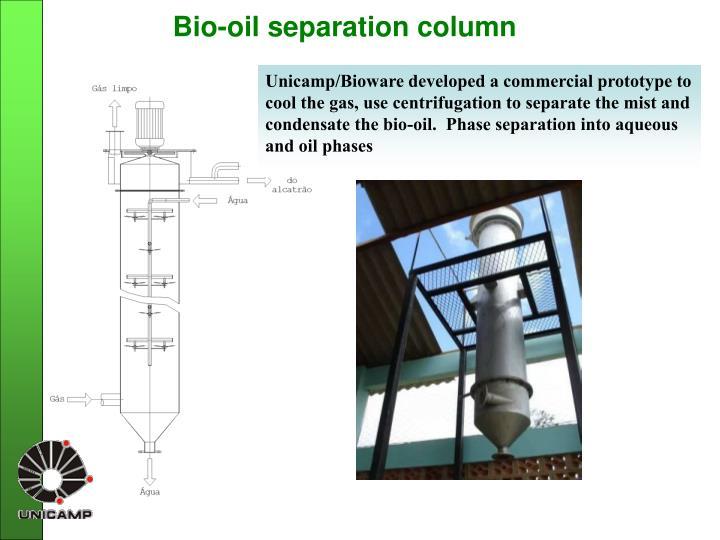 Bio-oil separation column