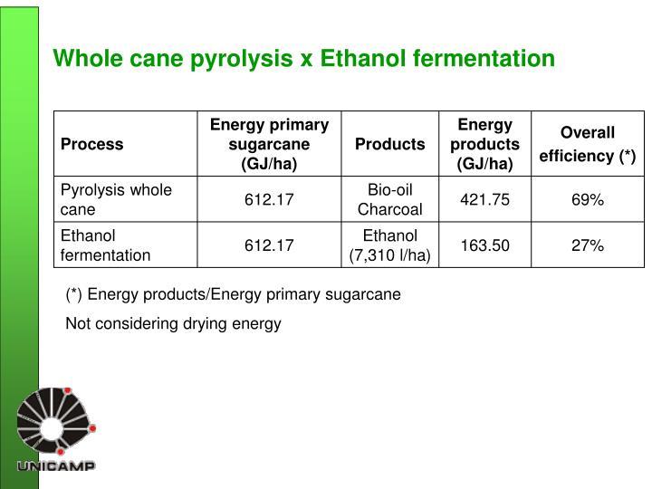 Whole cane pyrolysis x Ethanol fermentation