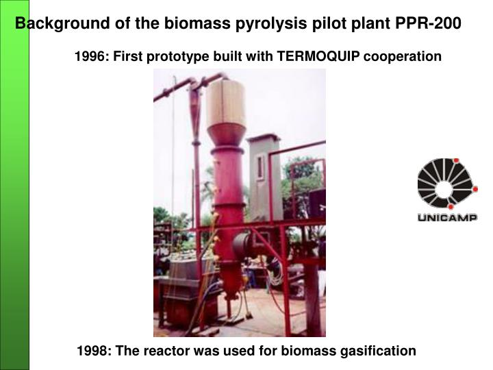 Background of the biomass pyrolysis pilot plant