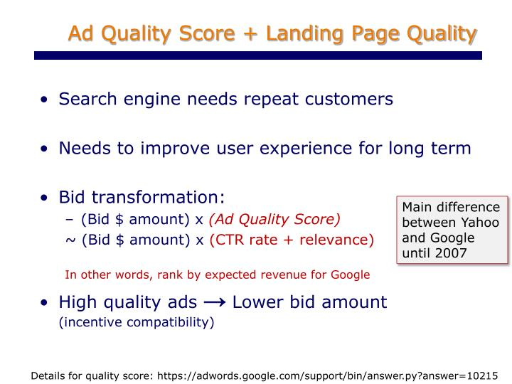 Ad Quality Score + Landing Page Quality
