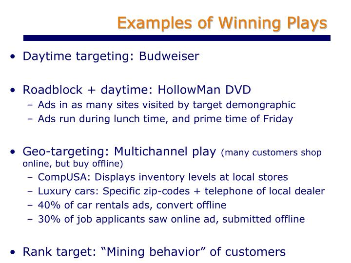 Examples of Winning Plays