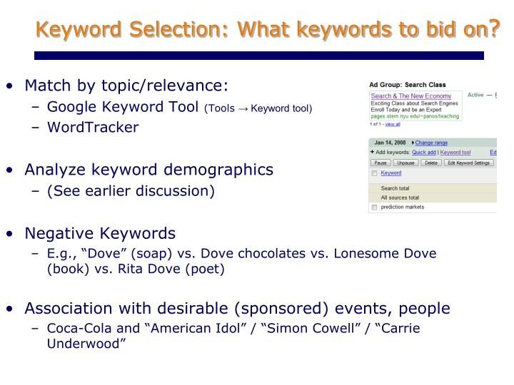 Keyword Selection: What keywords to bid on
