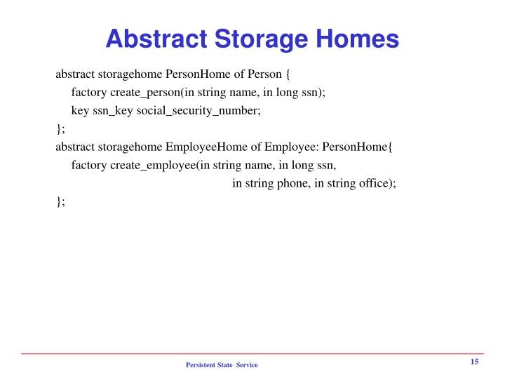 Abstract Storage Homes