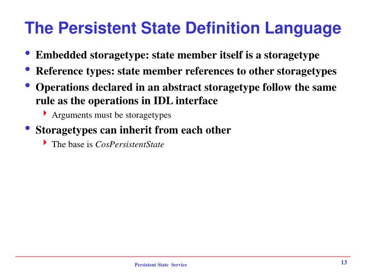 The Persistent State Definition Language