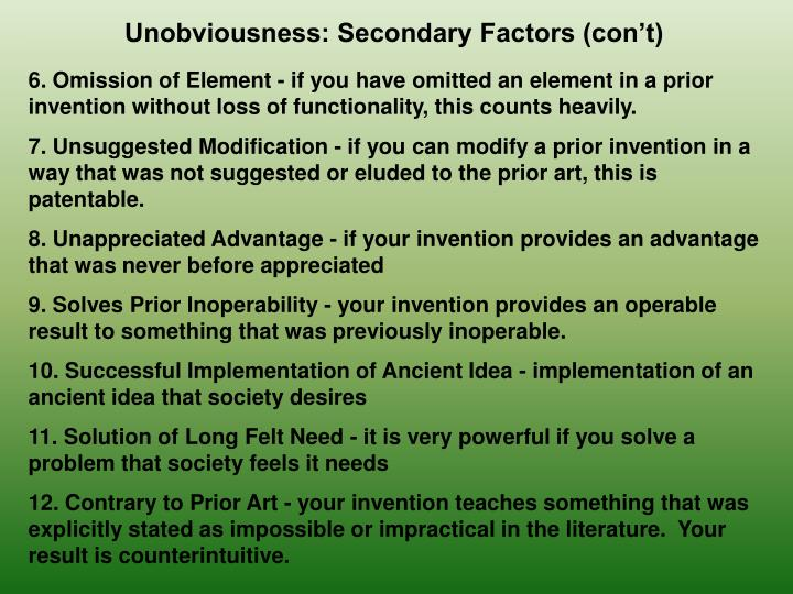 Unobviousness: Secondary Factors (con't)