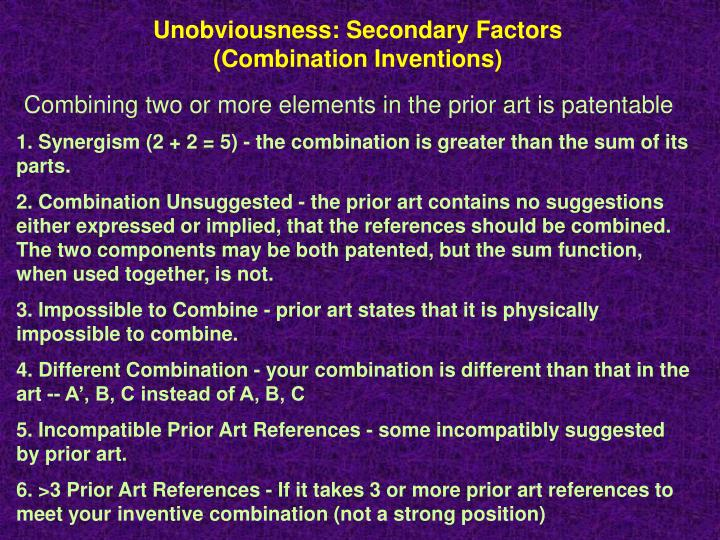Unobviousness: Secondary Factors (Combination Inventions)