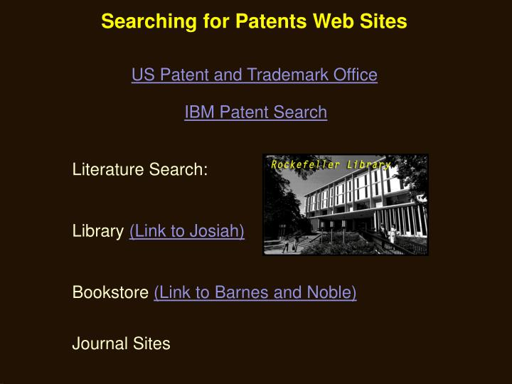 Searching for Patents Web Sites