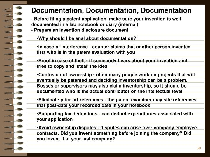 Documentation, Documentation, Documentation