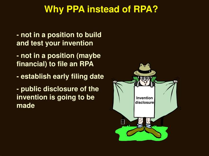 Why PPA instead of RPA?