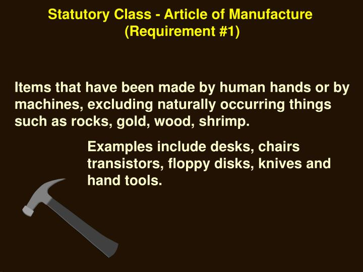Statutory Class - Article of Manufacture