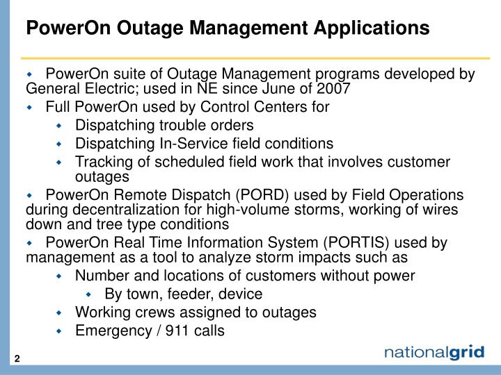 Poweron outage management applications