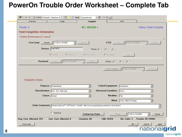 PowerOn Trouble Order Worksheet – Complete Tab