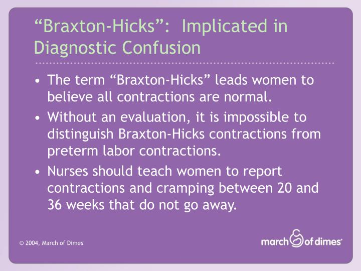 """Braxton-Hicks"":  Implicated in Diagnostic Confusion"