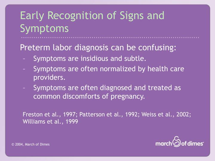 Early Recognition of Signs and Symptoms