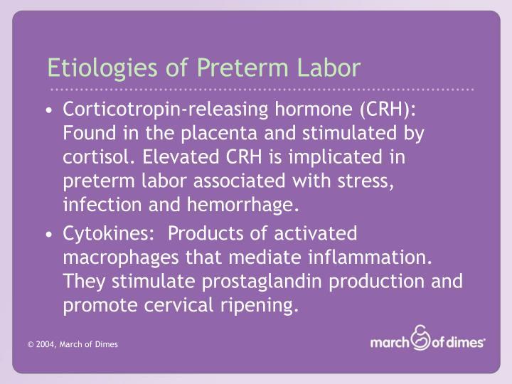 Etiologies of Preterm Labor