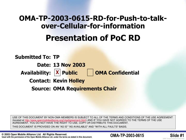 Oma tp 2003 0615 rd for push to talk over cellular for information presentation of poc rd