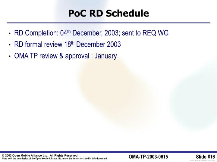PoC RD Schedule