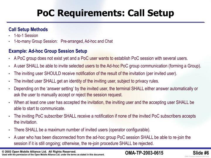 PoC Requirements: Call Setup